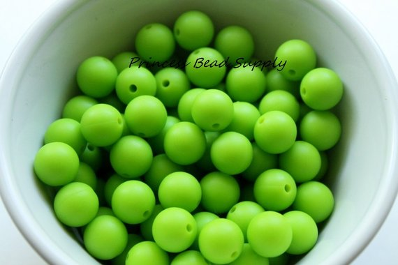 12mm Green Silicone Beads