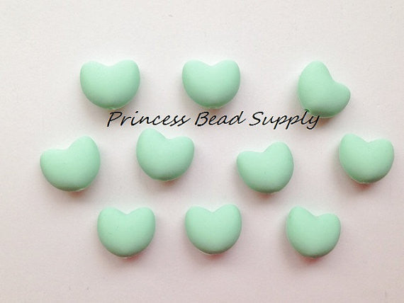 Mint Green Heart Silicone Teething Beads
