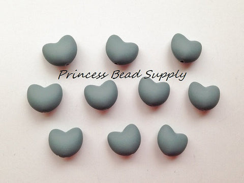 Gray Heart Silicone Teething Beads