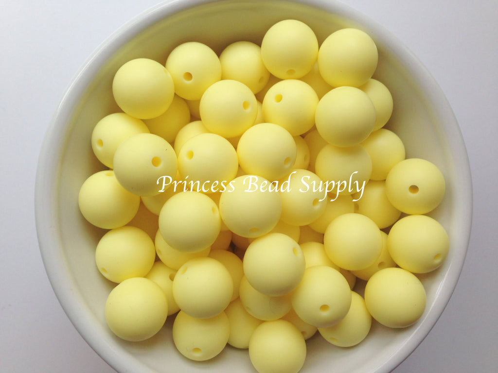 15mm Light Yellow Silicone Beads