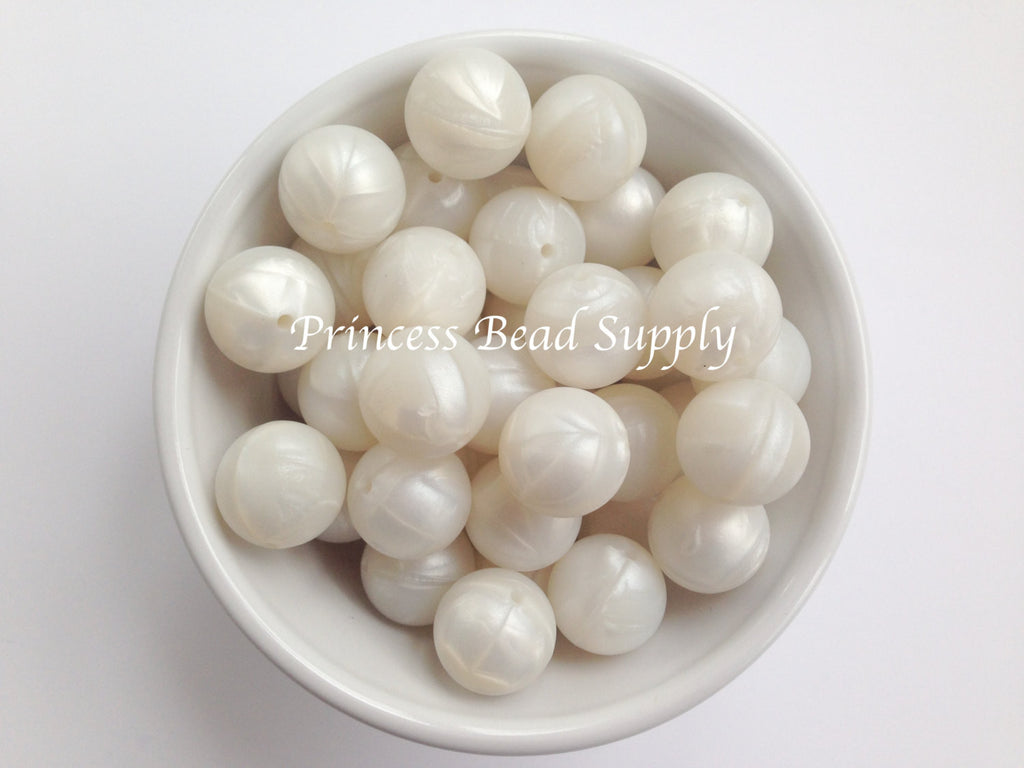 19mm Metallic White Silicone Beads