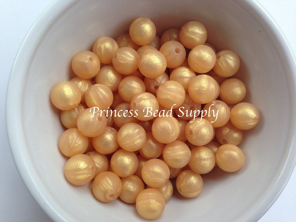 12mm Metallic Gold Silicone Beads