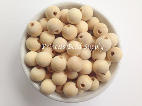 15mm Natural Wood Round Teething Beads