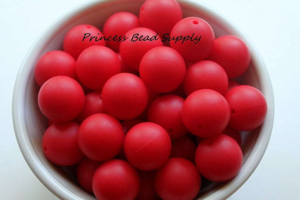 19mm Red Silicone Teething Beads