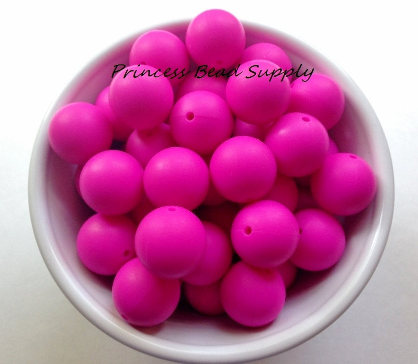 19mm Hot Pink Silicone Teething Beads