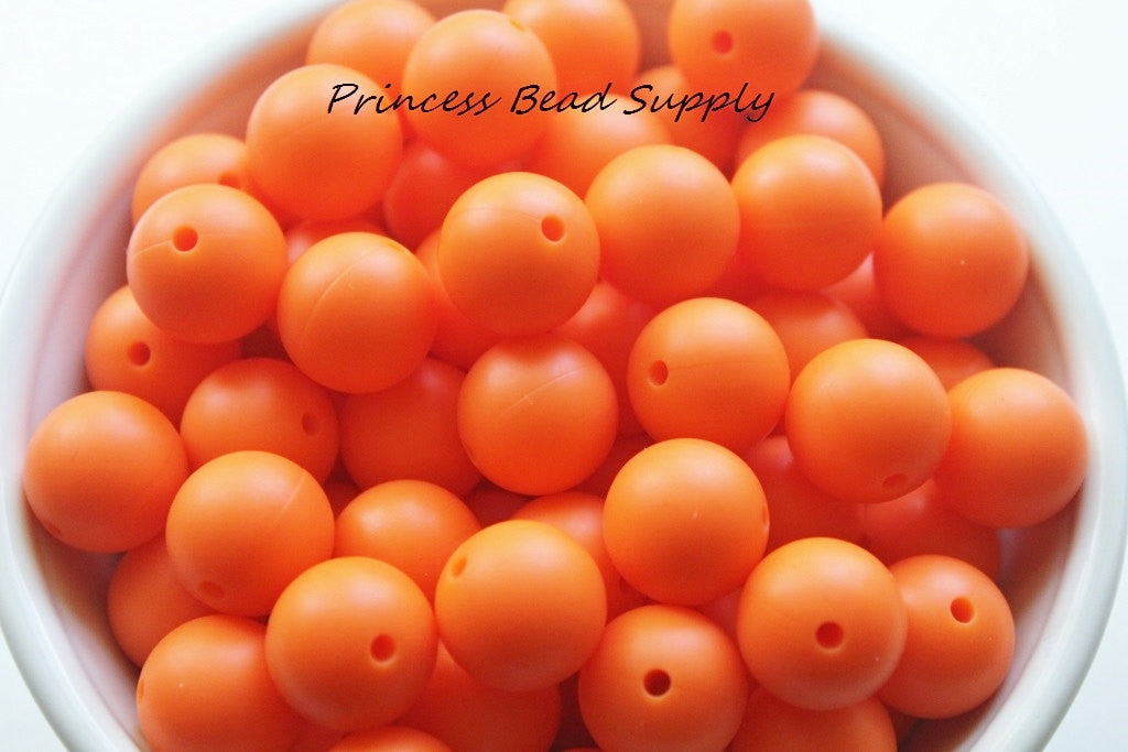 15mm Orange Silicone Teething Beads
