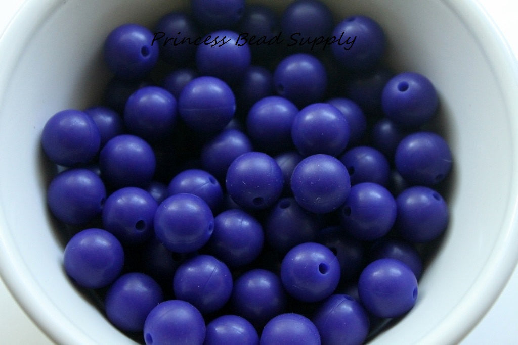 12mm Navy Blue Silicone Beads