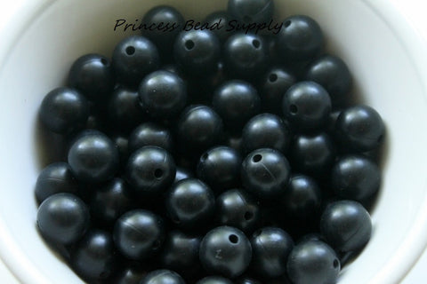 12mm Black Silicone Beads