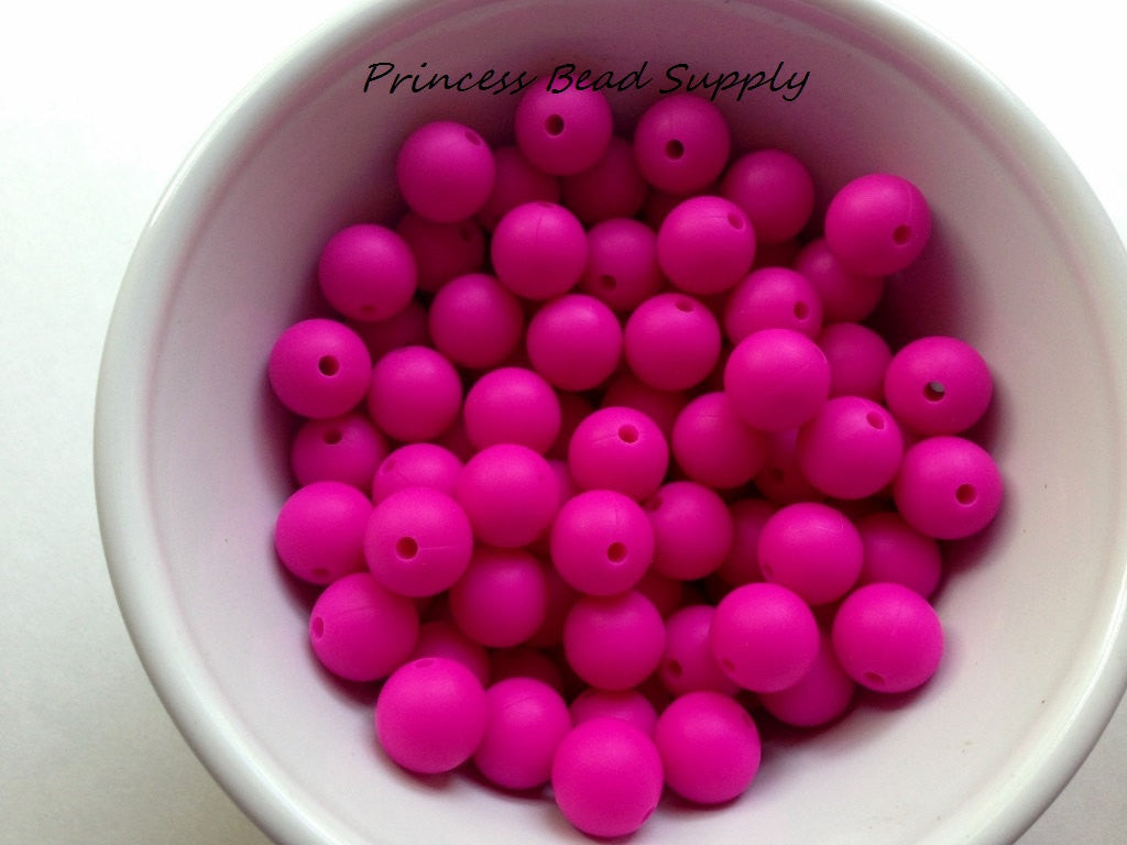12mm Hot Pink Silicone Beads