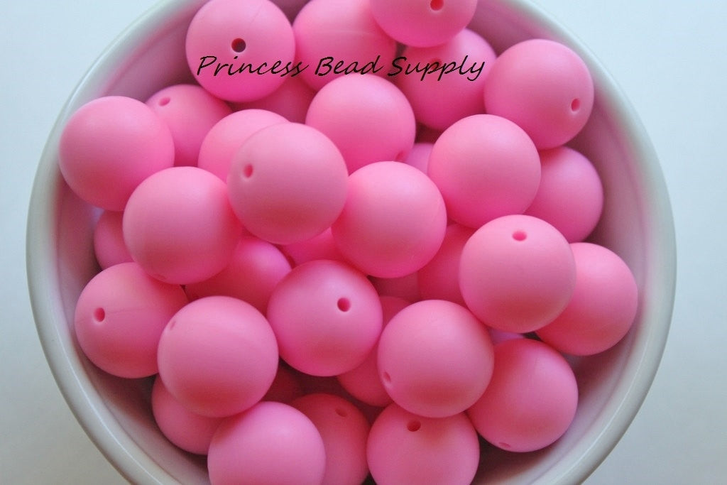 19mm Pink Silicone Teething Beads