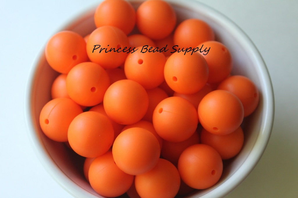 19mm Orange Silicone Teething Beads