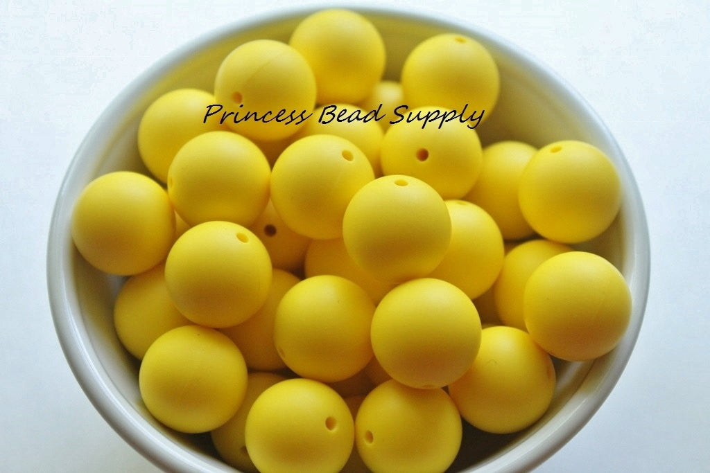 19mm Yellow Silicone Teething Beads