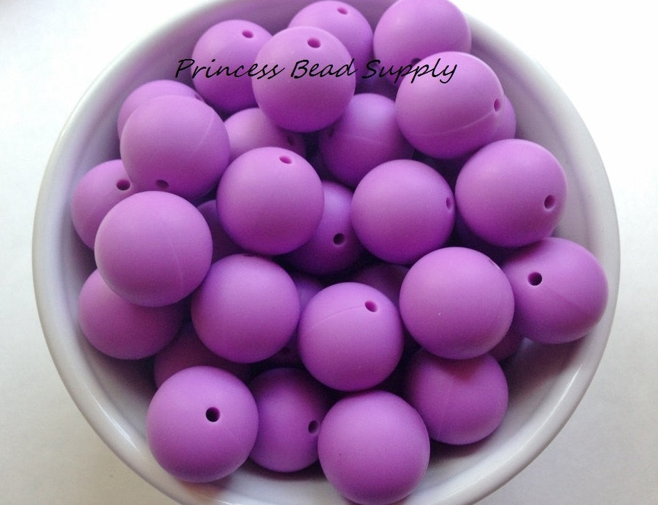 19mm Lavender Purple Silicone Beads