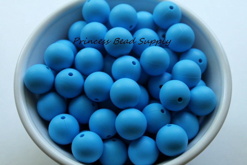 15mm Sky Blue Silicone Teething Beads