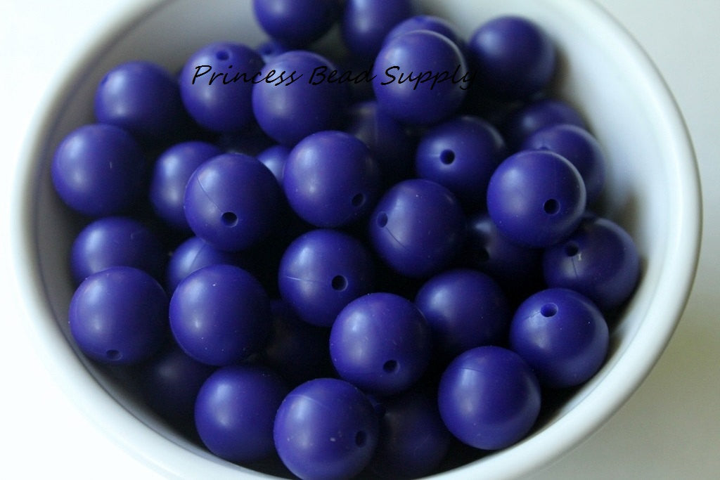 15mm Navy Blue Silicone Teething Beads