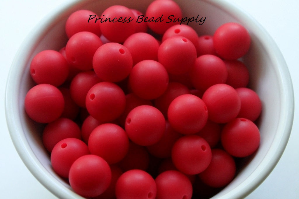 15mm Red Silicone Beads