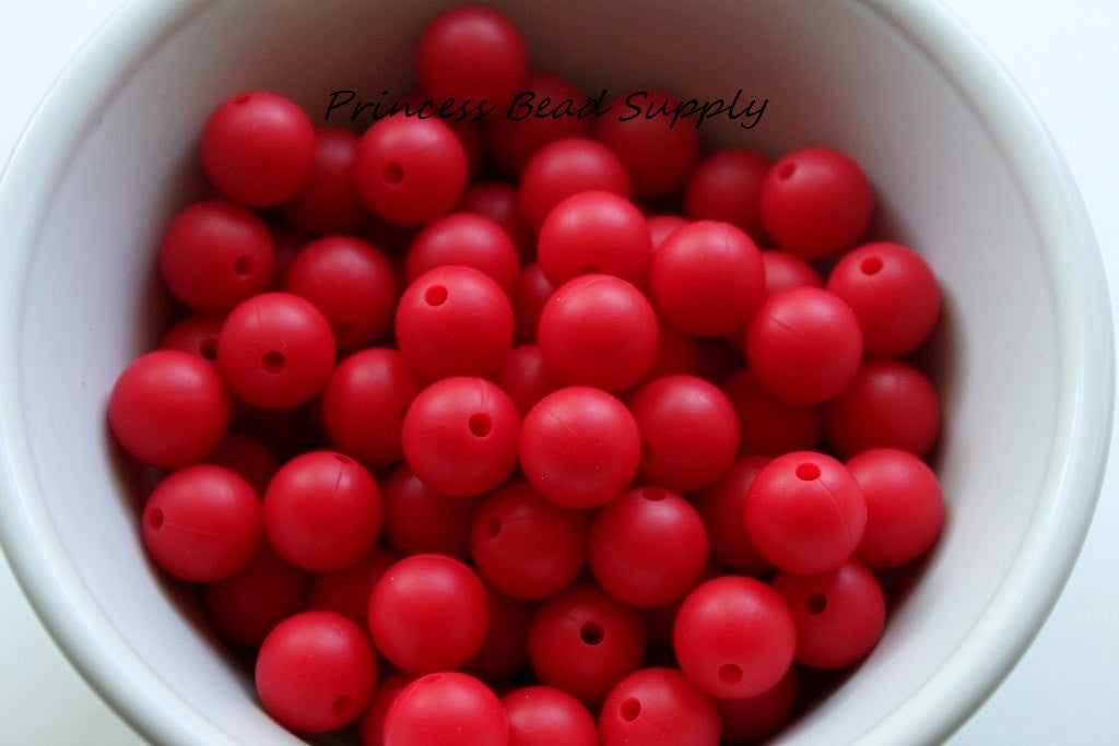 12mm Red Silicone Beads