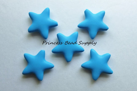 Sky Blue Star Silicone Teething Beads