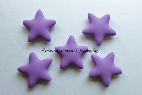 Lavender Purple Star Silicone Beads