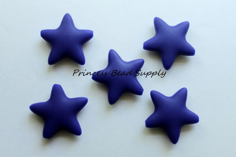 Navy Blue Star Silicone Teething Beads