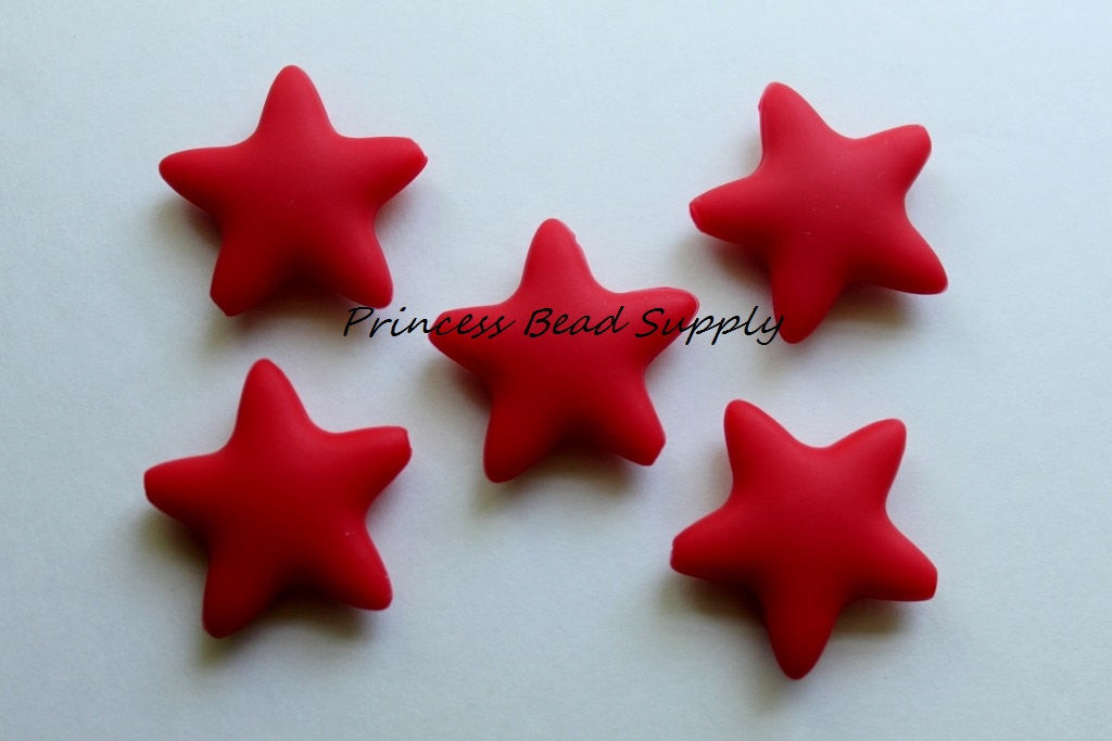 Red Star Silicone Teething Beads