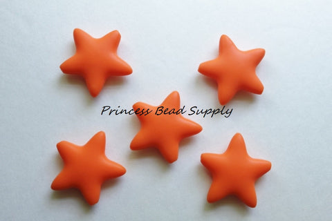 Orange Star Silicone Teething Beads