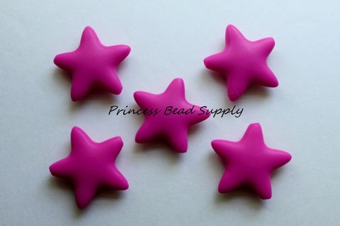 Hot Pink Star Silicone Teething Beads