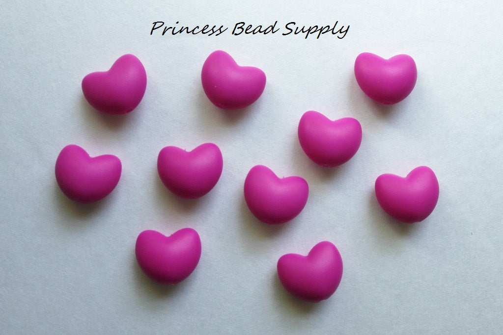 Hot Pink Heart Silicone Teething Beads