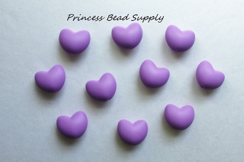 Purple Heart Silicone Teething Beads