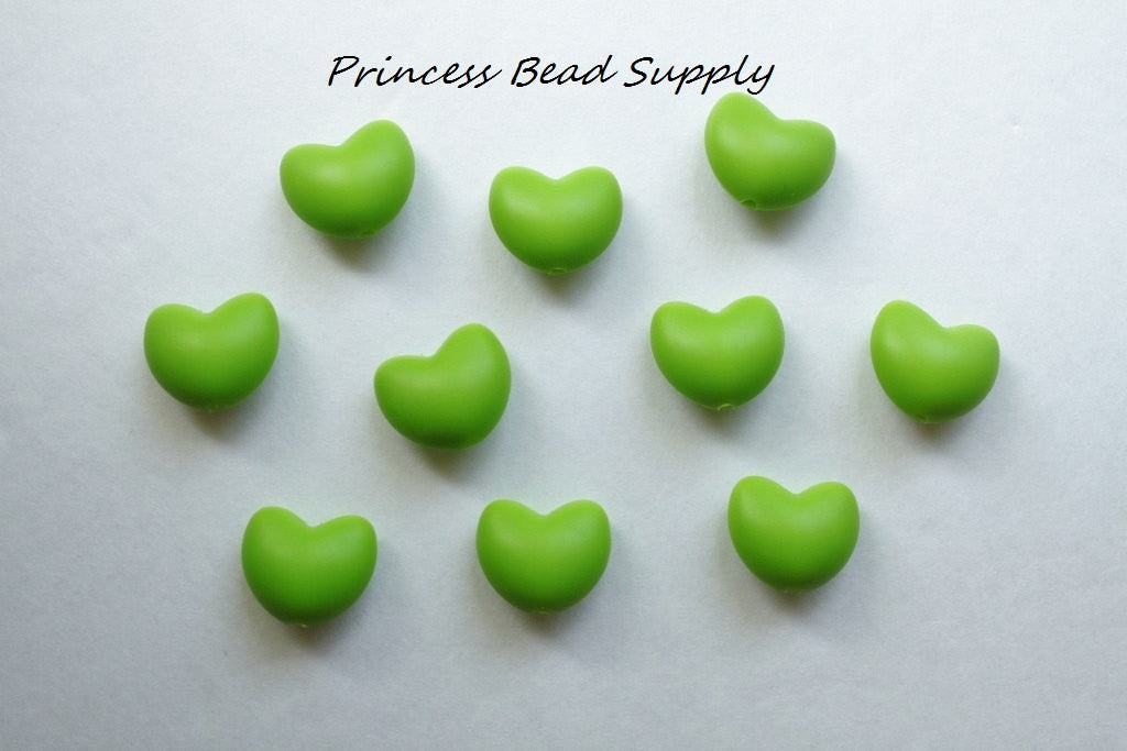 Green Heart Silicone Teething Beads