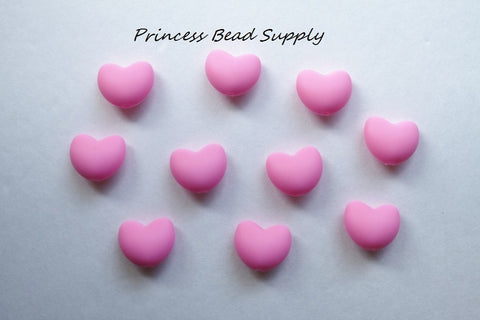 Pink Heart Silicone Teething Beads