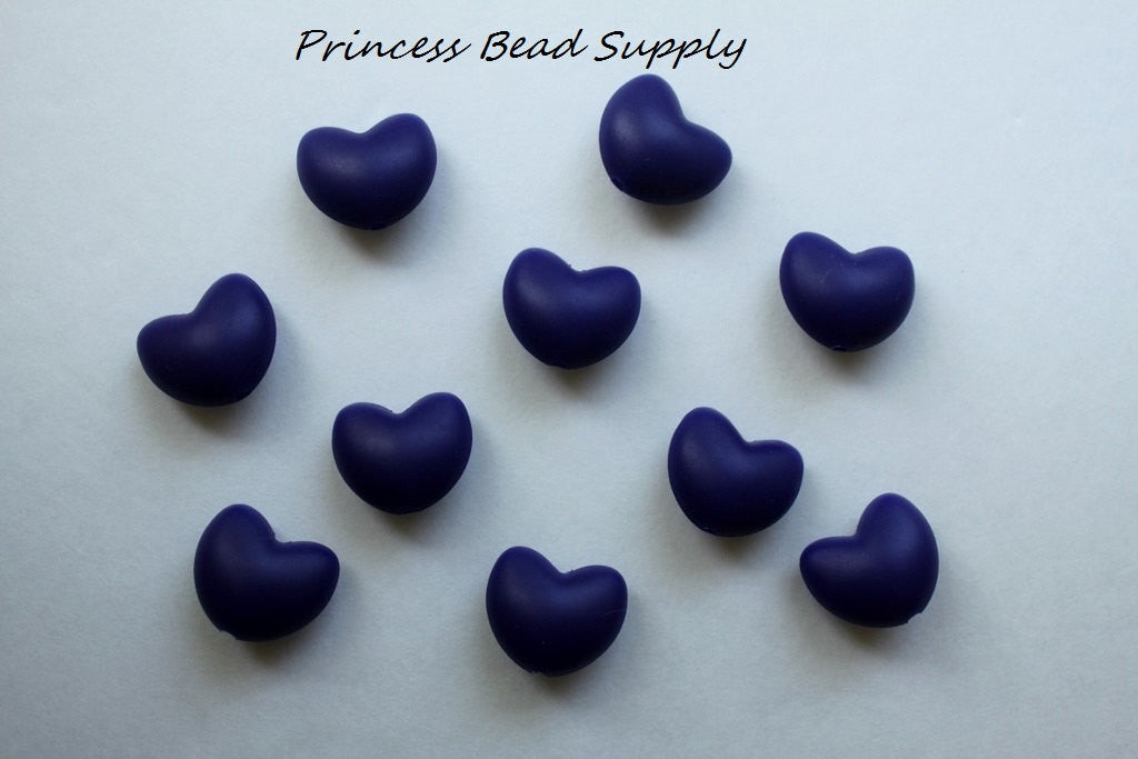 Navy Blue Heart Silicone Teething Beads