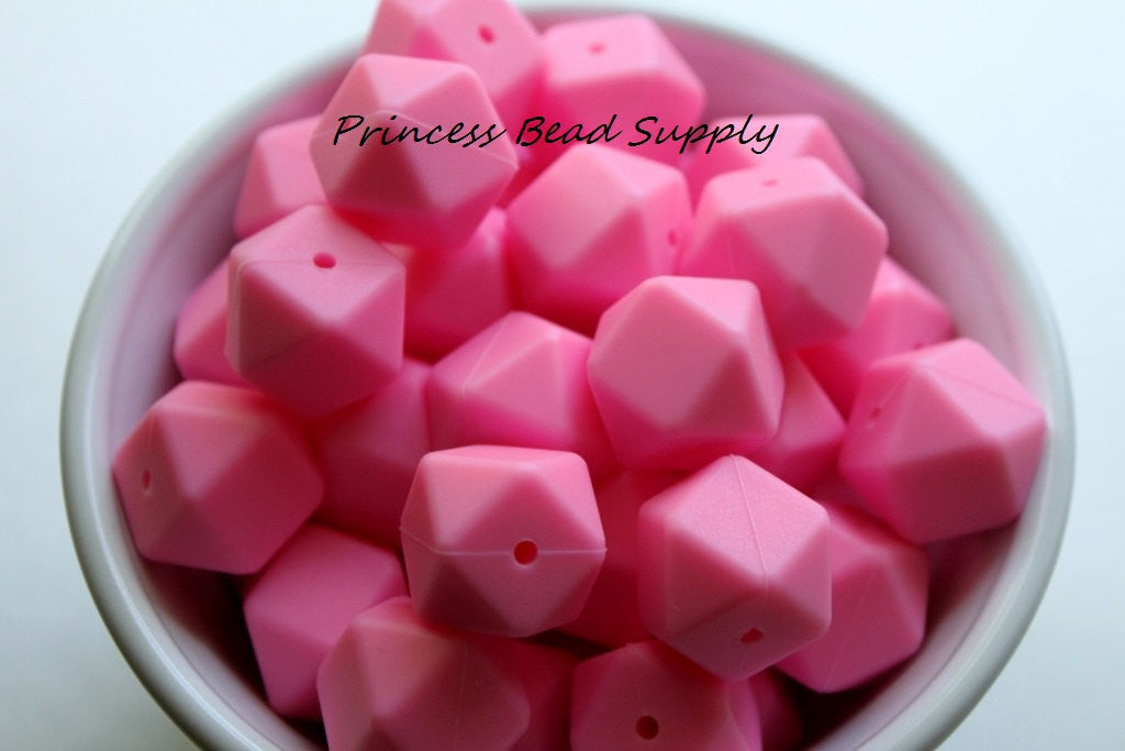 Pink Hexagon Silicone Beads