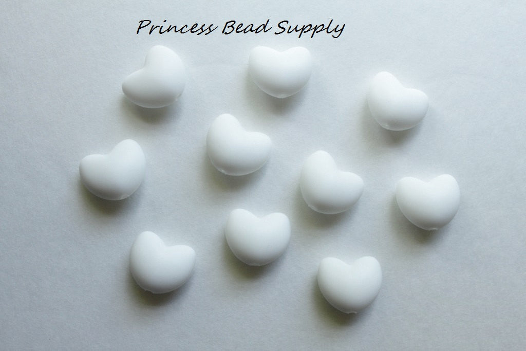 White Heart Silicone Teething Beads