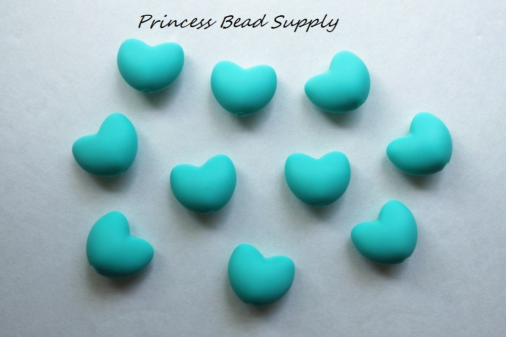 Turquoise Heart Silicone Teething Beads