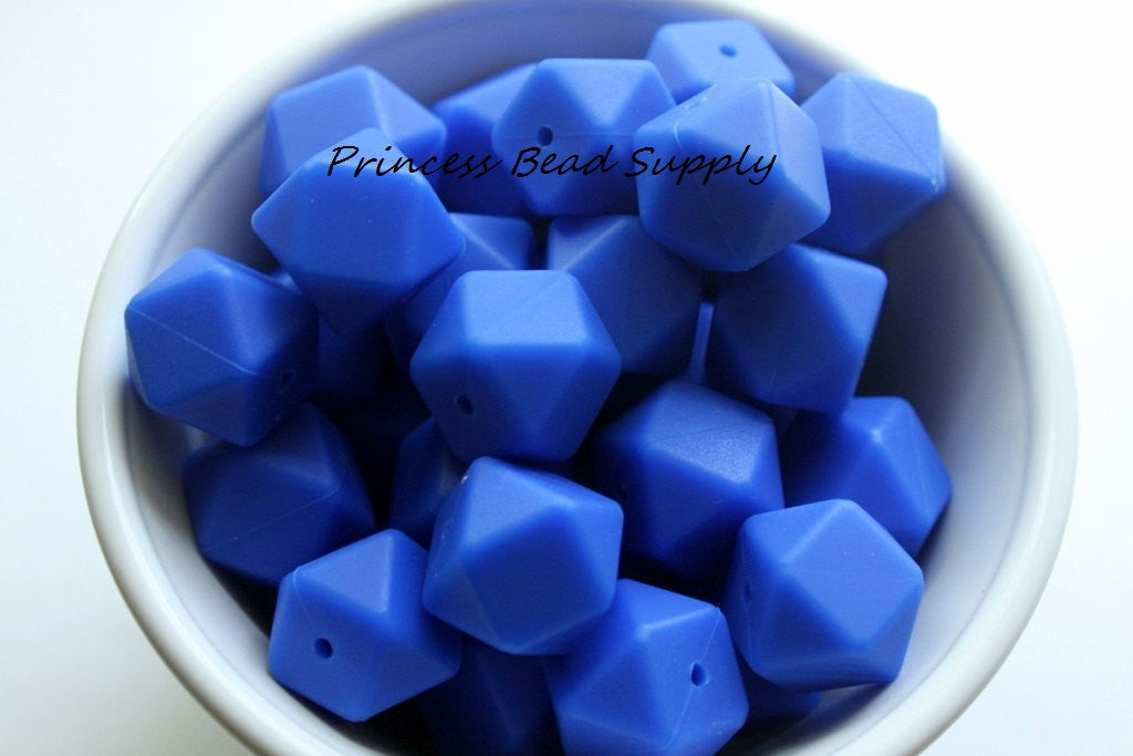 Royal Blue Hexagon Silicone Teething Beads