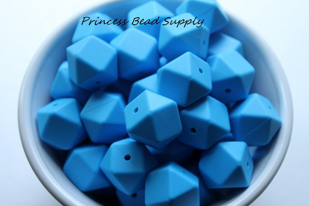 Sky Blue Hexagon Silicone Teething Beads