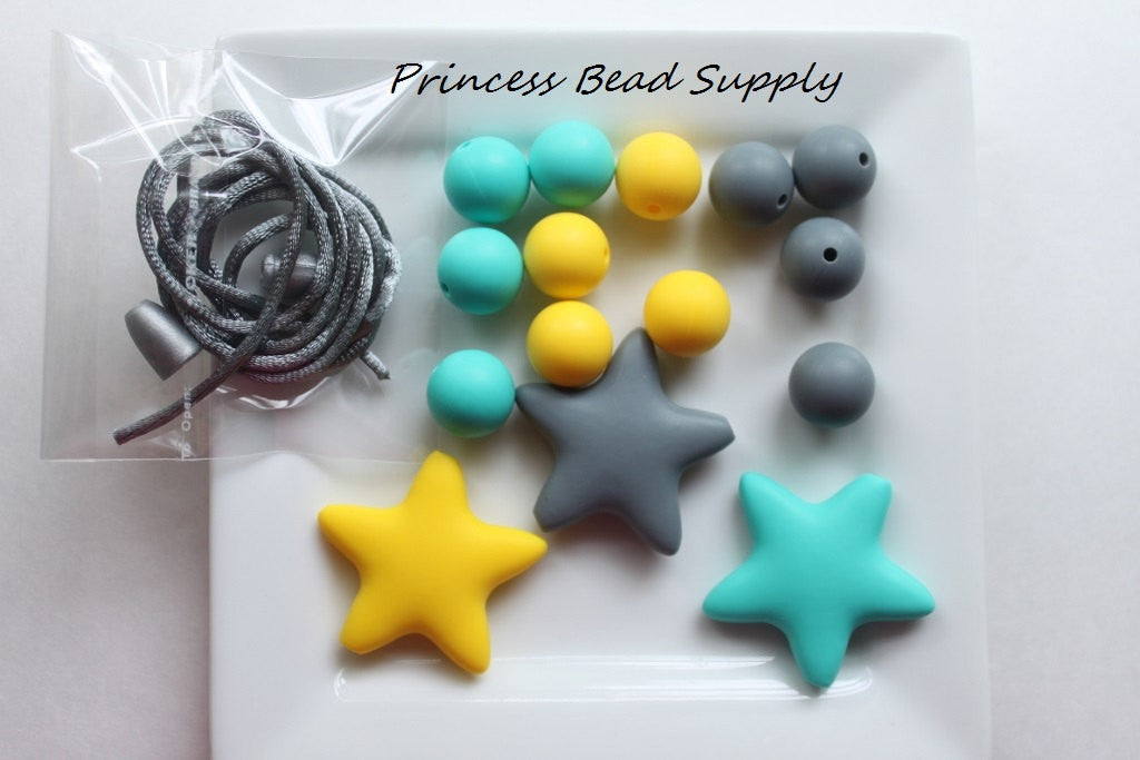 Yellow, Turquoise & Gray Star Silicone Teething Necklace Kit