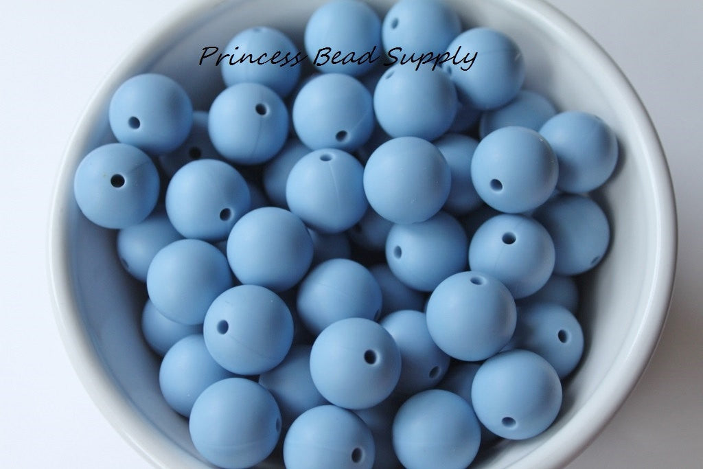 15mm Powder Blue Silicone Teething Beads