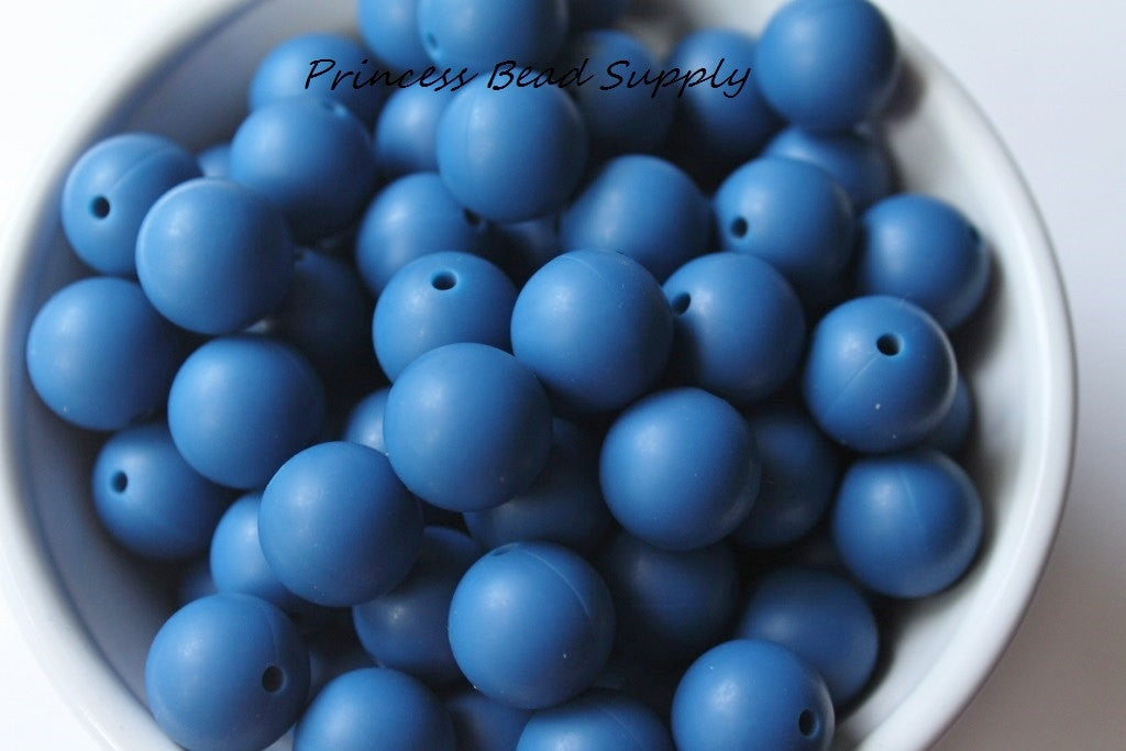 15mm Sapphire Blue Silicone Teething Beads