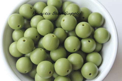 15mm Army Green Silicone Beads