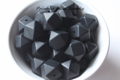 Black Hexagon Silicone Teething Beads
