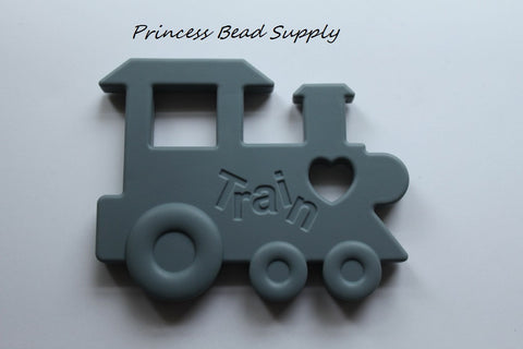 Gray Train Silicone Teether