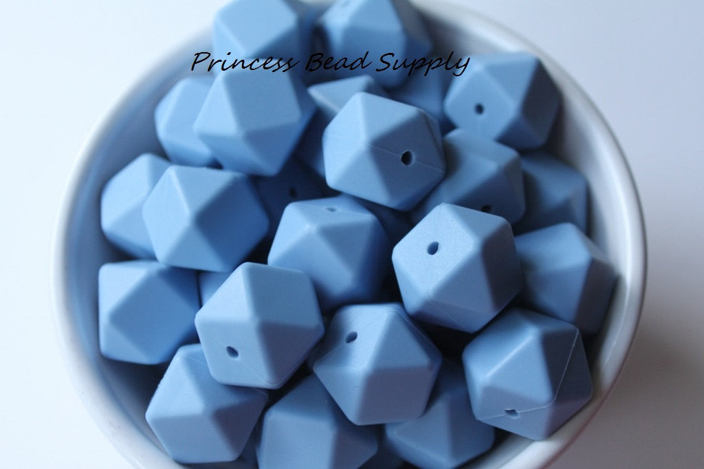 Powder Blue Hexagon Silicone Teething Beads