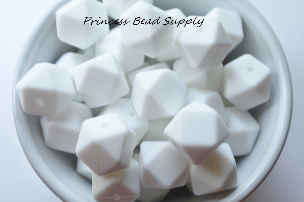 White Hexagon Silicone Beads