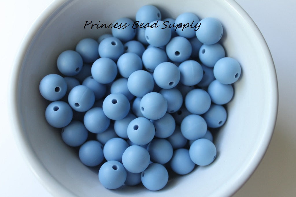 12mm Powder Blue Silicone Beads