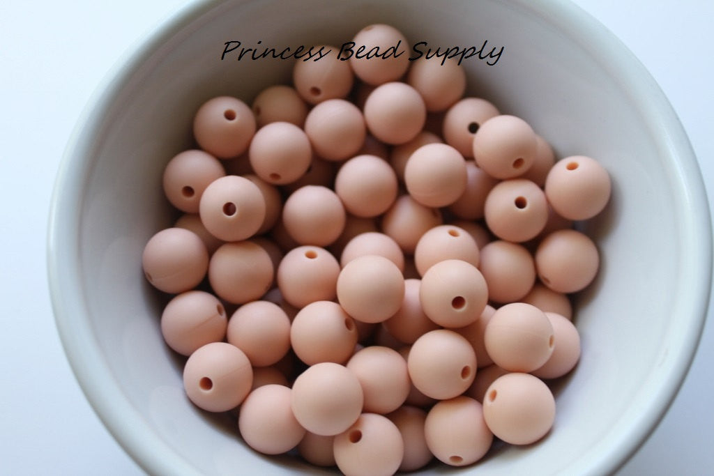 12mm Peach Silicone Beads