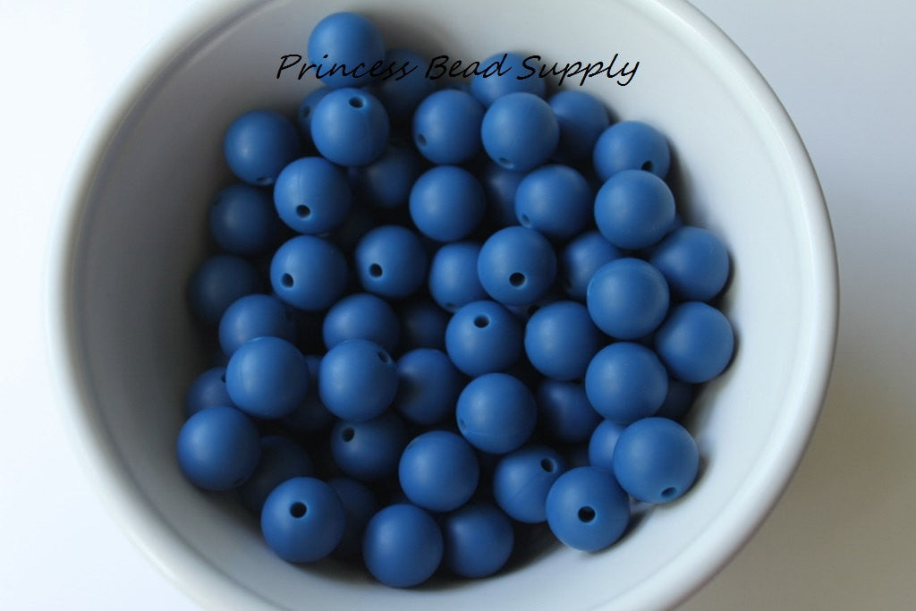 12mm Sapphire Blue Silicone Beads