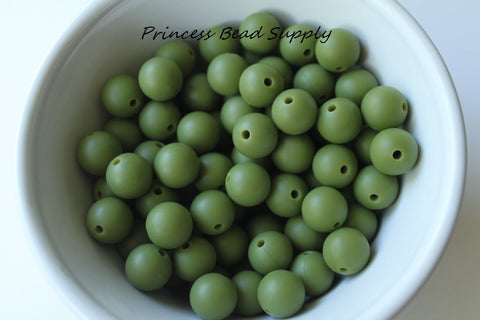12mm Army Green Silicone Beads