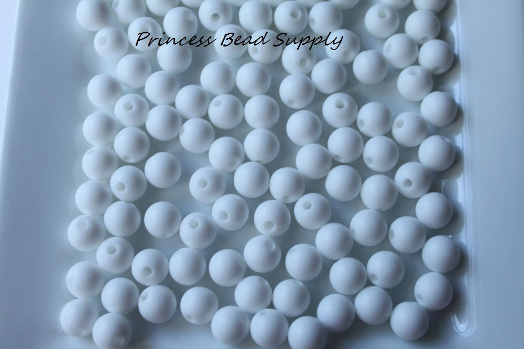 9mm White Silicone Teething Beads